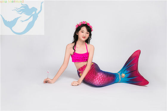 Children Pink Mermaid Tail Swimming Costume Multifunctional Fade Resistant Fabric