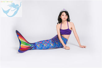 China Rainbow Mermaid Swim Tails For Toddlers Ruffles Princess Designed Bikini Top factory