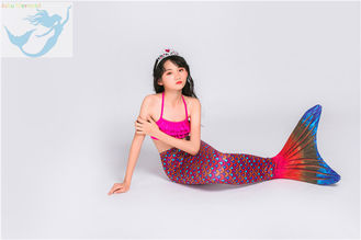 China Realistic Swimmable Mermaid Tails , Girls Mermaid Tail Swimsuit 3 - 14 Year Old factory