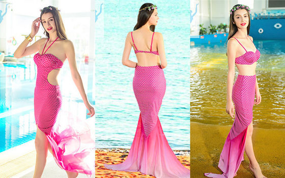China Women's Mermaid One Piece Swimsuit Polyester Material Custom Color / Size factory