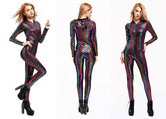 China Women's Sexy Fish Scale Jumpsuit Colorful Lightweight High Elasticity Fabric factory