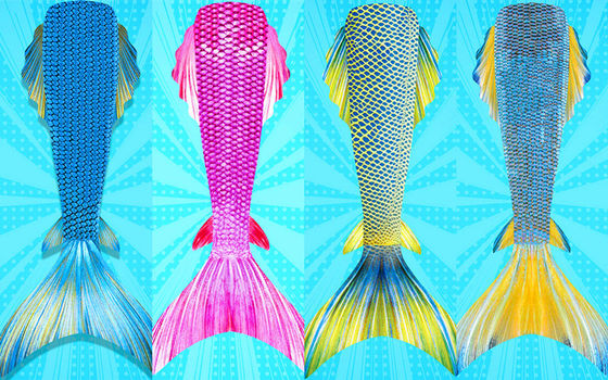 Flexible Ladies Mermaid Tail , Mermaid Tail Swimsuit Adult With Side Fins