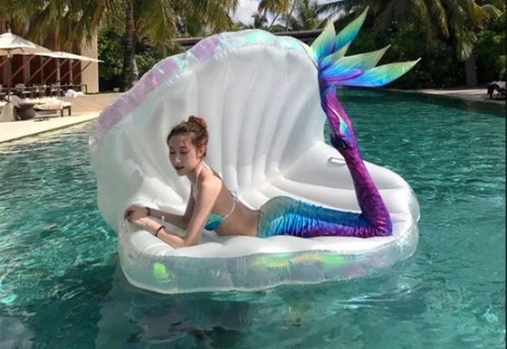 High Capacity Seashell Pool Float 170*130*110cm Luxurious Pearl Glazed Clamshell