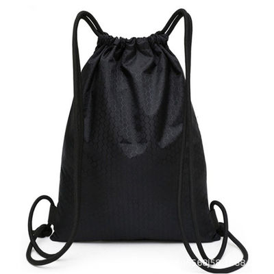 Lightweight Black Drawstring Backpack , Gym Sackpack For Hiking Yoga Swimming