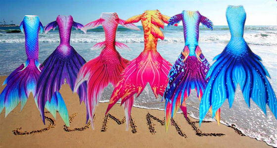 China Girls / Women Bikini Free Surfing Mermaid Tail Baby Costume / Kids Swimwear factory