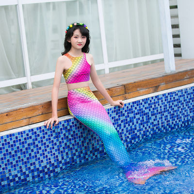 3PCS Purple Mermaid Tail For Swimming , Girls Mermaid Tail Swimsuit