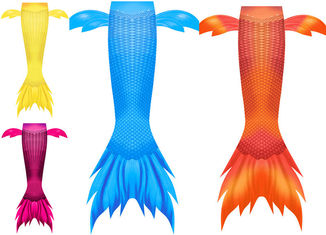 Juku Mermaid Newest Design Side fins Orange Mermaid tail with small Frills for Girls and Women Swimwear