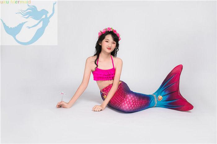 Children Pink Mermaid Tail Swimming Costume Multifunctional Fade Resistant Fabric supplier