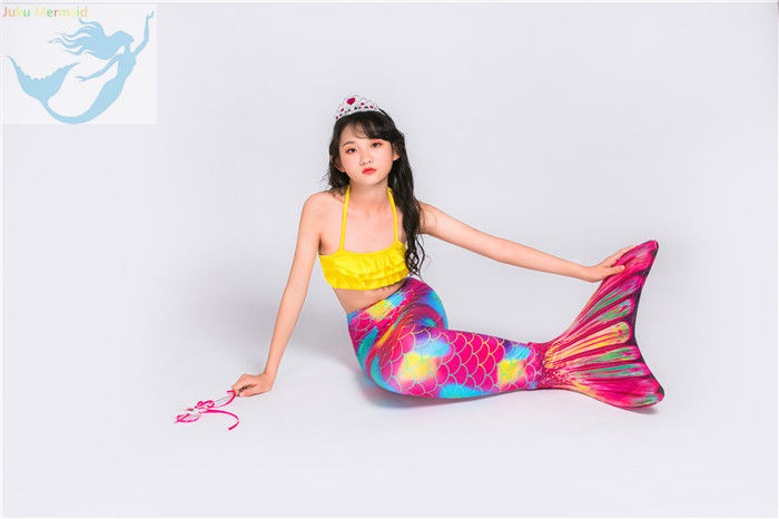 Pink Yellow Swimmable Mermaid Tails With Monofin , Custom Made Mermaid Tails supplier