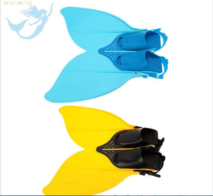 Blue And Yellow Plastic Mermaid Monofin , Mermaid Feet Fins Anti - Skidding supplier