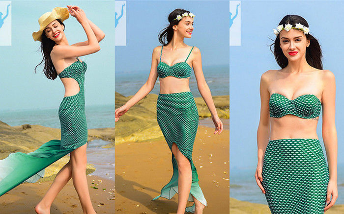 Highly Flexible Mermaid Tail Swimsuit Adult Fish Scales Off Shoulder Style supplier