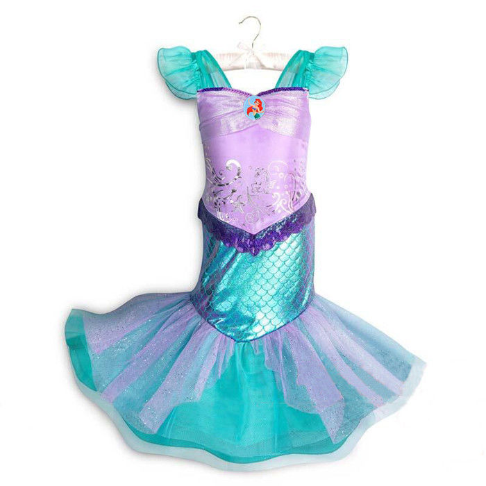 OEM Design Ariel Little Mermaid Costume Sequined Bodice With Pleated Mesh supplier