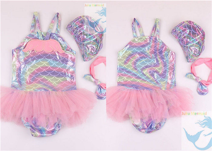 Big Bow Baby Girl Mermaid Swimsuit 3pcs Set Comfortable For 5 Month Old To 6Y supplier