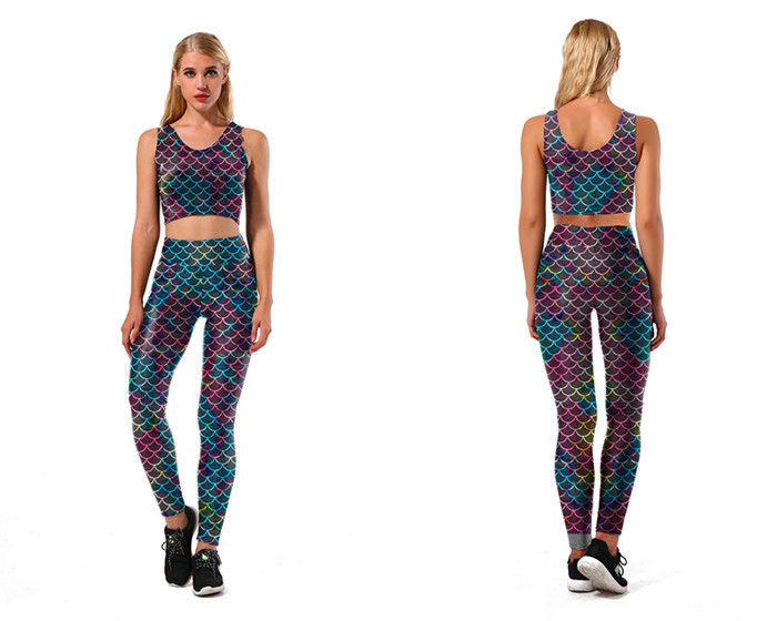 Polyester Mermaid Swim Leggings , Holographic Mermaid Leggings With Top supplier