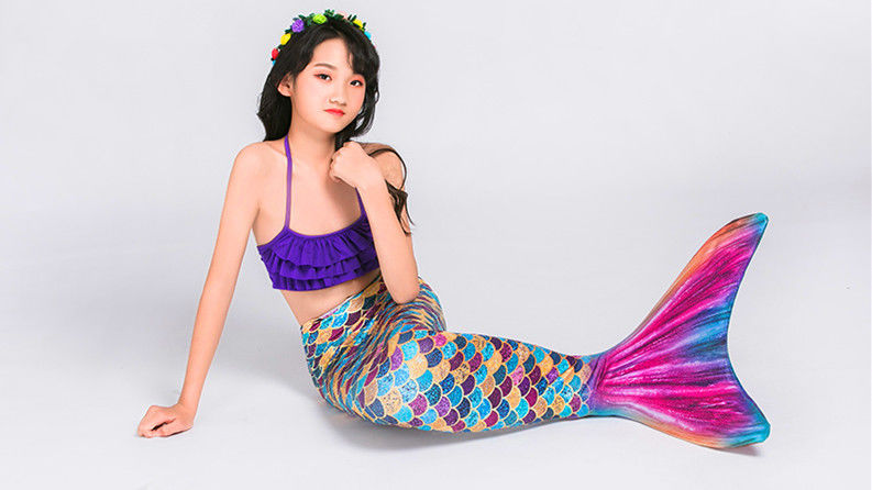 Breathable Childrens Mermaid Tails , Girls Mermaid Tail Swimsuit Princess Costumes supplier