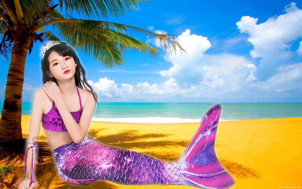 Purple Pink Childrens Mermaid Tails Comfortable Fade Resistant Fabric Mermaid Swimsuit supplier