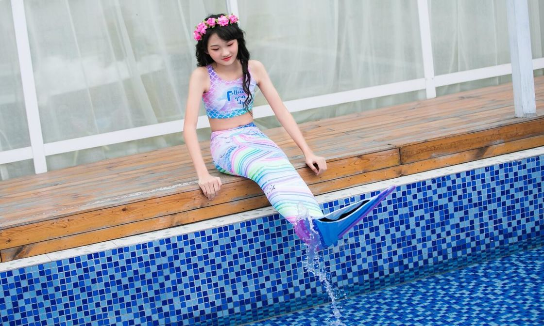 Colorful Unicorn Mermaid Tails For Swimming With Flower Monofin Fade - Resistant supplier