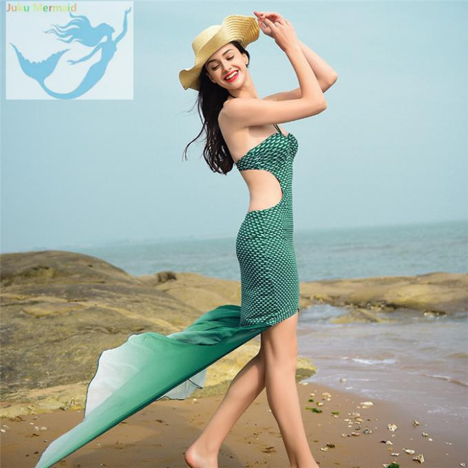 Highly Flexible Mermaid Tail Swimsuit Adult Fish Scales Off Shoulder Style