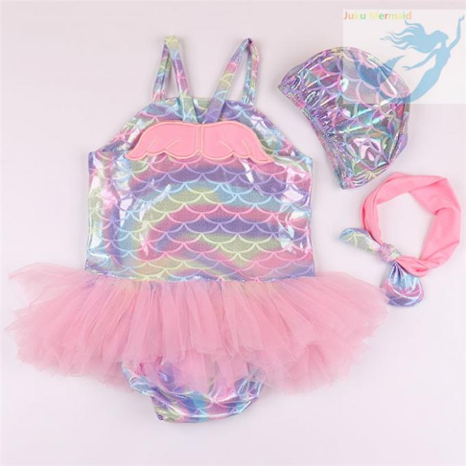 Big Bow Baby Girl Mermaid Swimsuit 3pcs Set Comfortable For 5 Month Old To 6Y