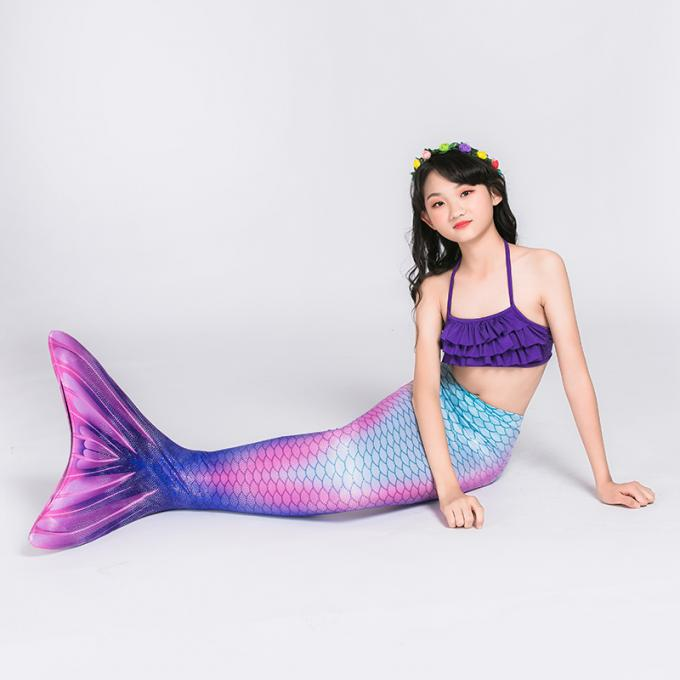 3-12Y Old Children Rainbow Mermaid Tails With Bathing Bikini For Swimming