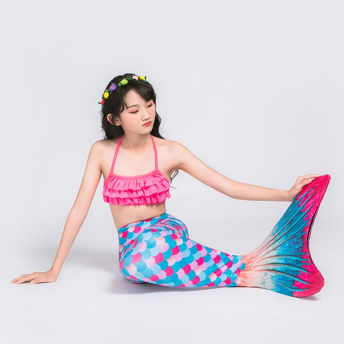 Shiny Fish Scale Texture Mermaid Tails For Swimming , Reinforced Tips Bikini Swimsuit Set