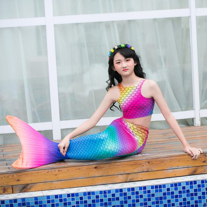 Durable Ultra - Shiny Mermaid Tail For Swimming With Monofin Swimsuit For Kids