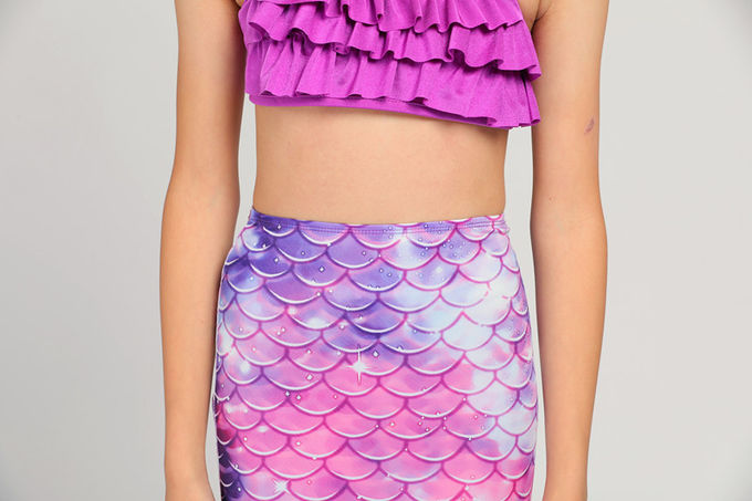 Purple Pink Childrens Mermaid Tails Comfortable Fade Resistant Fabric Mermaid Swimsuit