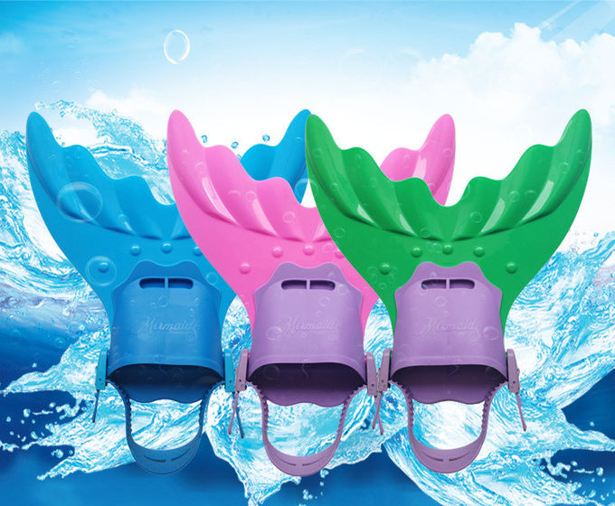 Silicone Rubber Mermaid Tail Swim Fin 3 Colors Fit Youth's Shoes 4cm x 40cm x 16cm