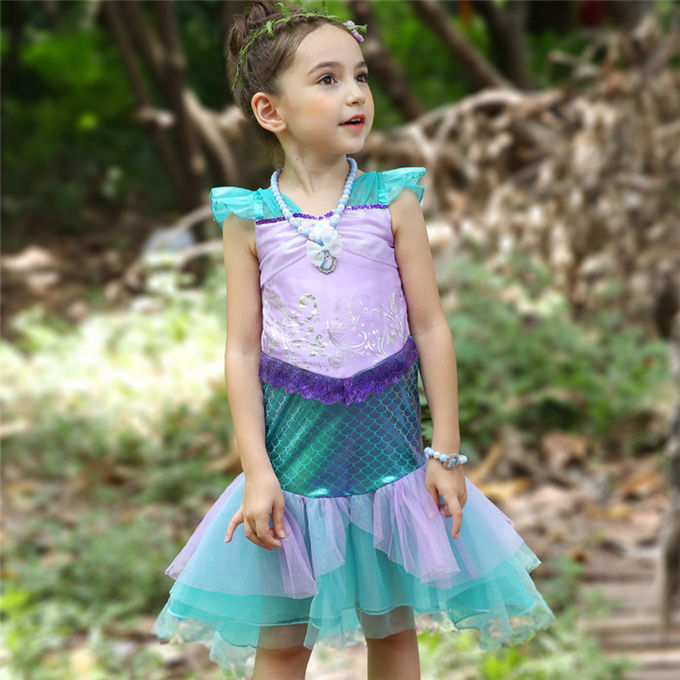 OEM Design Ariel Little Mermaid Costume Sequined Bodice With Pleated Mesh