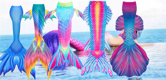 Breathable Adults Silicone Mermaid Tail Swimming Pink , Blue , Green Color